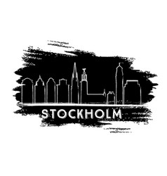stockholm skyline silhouette hand drawn sketch vector image