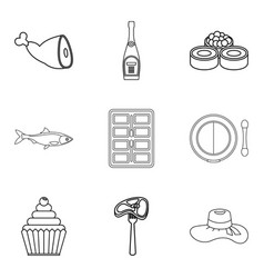 table setting icons set outline style vector image