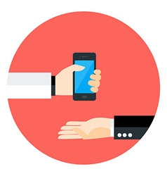 Two business man hands with phone circle icon vector