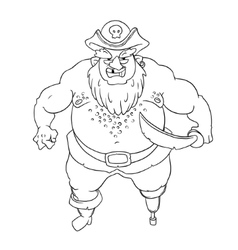 One-legged bearded pirate in cocked hat with a vector