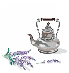 Vintage kettle and lavender provence style vector