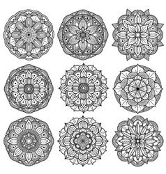 Yoga medallions meditation mandalas arabesque vector