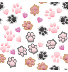 Cat and dog paw print with claws vector