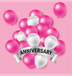 Pink and white party balloons for anniversary vector