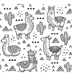 Contour seamless pattern with alpaca and cactuses vector