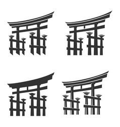 Japan gate torii silhouette set vector