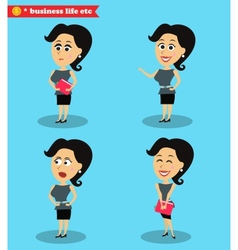 Clever office girl standing set vector