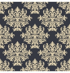 Vintage yellow damask floral seamless pattern vector image