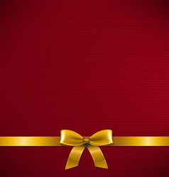 Dark red card with golden ribbon vector