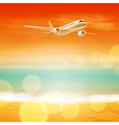 Background with sea and airplane in the sky vector