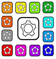 Settings button square icon vector
