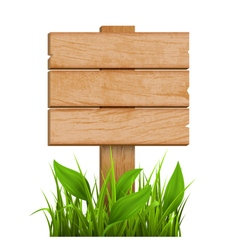 Wooden signpost with grass isolated on white vector