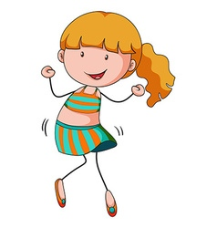 Little girl dancing alone vector