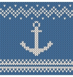 Anchor ornament on the wool knitted texture vector