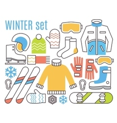 Winter sport activities snowboard ski and warm vector