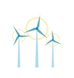 Wind turbine flat icon vector