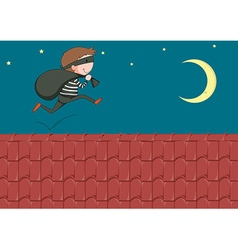 Robber with bag running on the roof vector