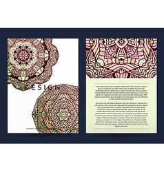 Magazine with beige mandala realistic brochure vector