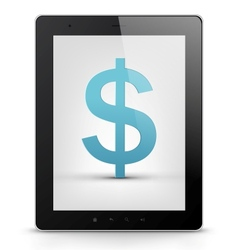Tablet pc with money vector