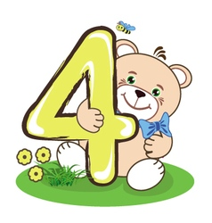 The number four and cheerful bear vector