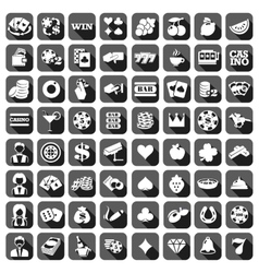 Big set of flat casino icons vector image vector image