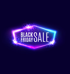 Black friday sale banner on neon background vector