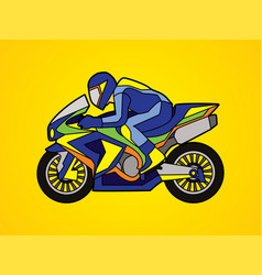 Blue motorcycle racing side view graphic vector