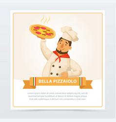 Cartoon character of italian pizzaiolo holding hot vector