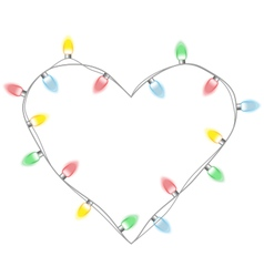 Christmas lights like heart isolated on white vector image