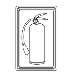 Contour signal with silhouette fire extinguisher vector