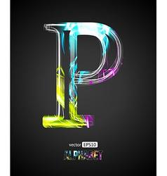 Design Light Effect Alphabet Letter P vector image