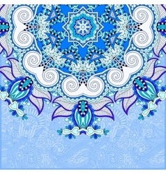Floral blue pattern in ukrainian oriental ethnic vector