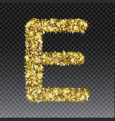 Gold glittering letter e shining golden vector