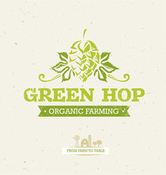 green hop organic farming design element on vector image