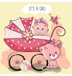Greeting card its a girl vector image vector image