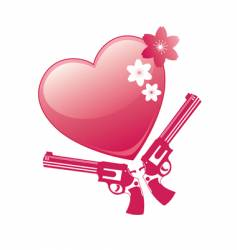 heart and revolver vector image vector image
