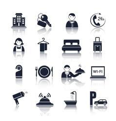 Hotel travel pictograms set vector