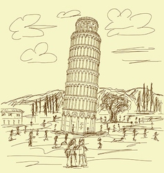 leaning tower of pisa vintage vector image