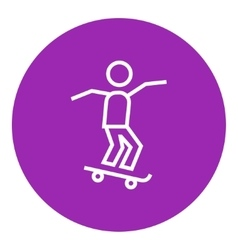 Man riding on skateboard line icon vector image vector image
