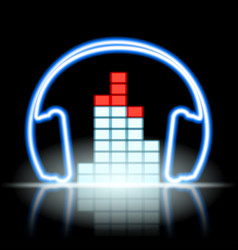 neon icon musical equalizer and headphones vector image