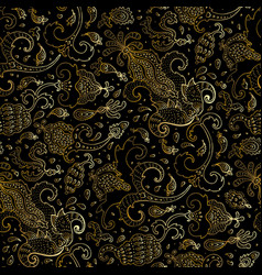 Paisley beautiful golden seamless background vector