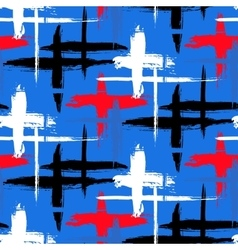 Pattern with stripes and crosses vector image