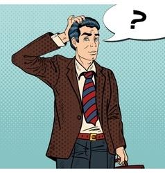 Pensive Pop Art Businessman Making Decision vector image
