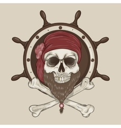 Pirate Skull with a beard vector image vector image
