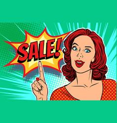 sale text pop art woman vector image