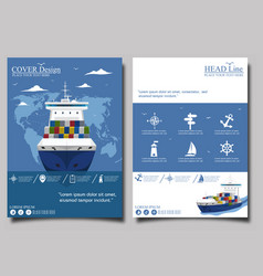 Sea shipping poster template set vector