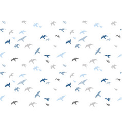 seagulls silhouettes seamless pattern flock of vector image