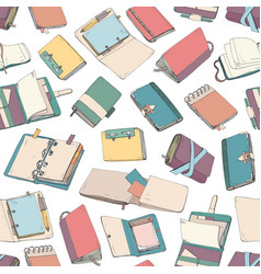 seamless pattern with colorful notepad notebook vector image