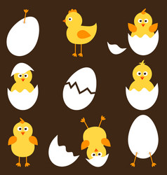 set of cartoon chickens vector image vector image