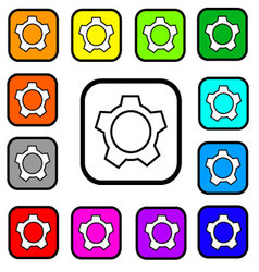 Settings Button Square Icon vector image vector image